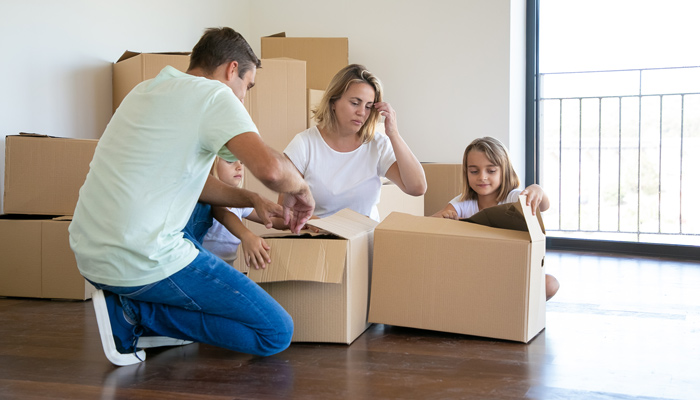 pack a box when moving house